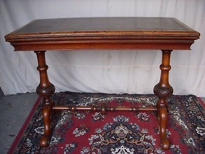 Stunning Victorian Walnut Writing Table Desk Games Table Ornate Hand Carved Legs