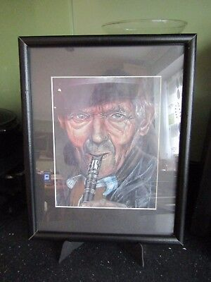 Modern Framed Mixed Media Art Picture Striking Subject-Old Man Playing Clarinet