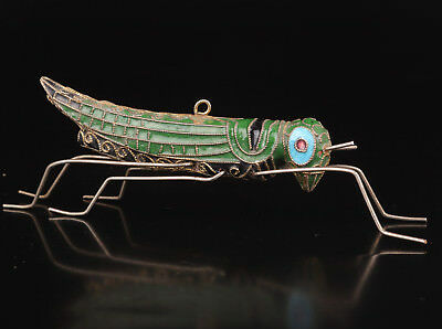 Cloisonne Statue Pendant Grasshopper Collection Old Handmaking