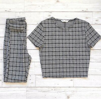 MISS SELFRIDGE Checkered Knit Top & Leggings Co Ord/ 2 Two Piece UK 6
