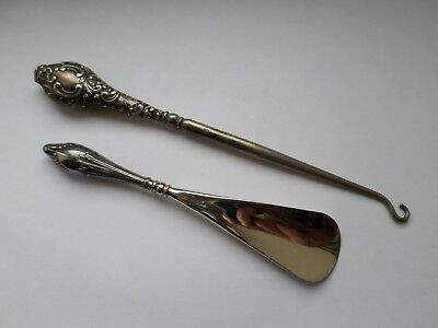 Antique sterling silver handled button hook and shoe horn