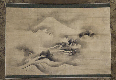 """JAPANESE HANGING SCROLL ART Painting """"Dragon and Mt. Fuji"""" Asian antique  #E8940"""