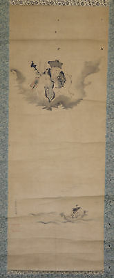 JAPANESE HANGING SCROLL ART Painting Hanabusa Itcho  Asian antique  #E8924