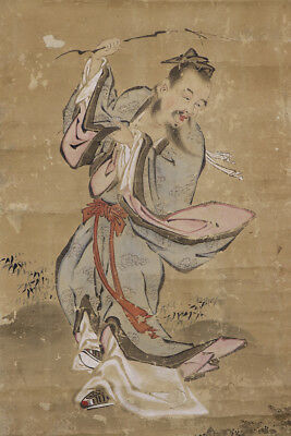 """JAPANESE HANGING SCROLL ART Painting """"Chinese"""" Asian antique  #E8919"""
