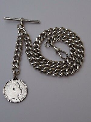 Antique Heavy Solid Silver Albert Chain and Shilling Fob Full Hallmarks