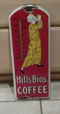 Hills Brothers Coffee Porcelain Advertising Sign w/Thermometer 1920s Food Bros