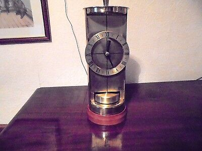 Very unusual  vintage Schatz and Sohne battery operated brass mantle clock