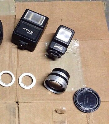 Camera lot lenses, flashes attachments (Sima, Rokinon)