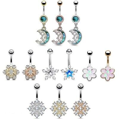 Belly Bar - Opal Glitter Flower - Mother of Pearl Crescent Moon - Navel Ring