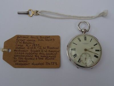 """Antique Solid Silver 1885 Fusee Pocket Watch J W Benson """"The Ludgate"""" VGWO"""