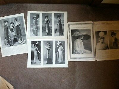 11 VICTORIAN LADIES FASHION GREAT HATS DRESSES fr 1910 THEATRE MAGAZINE 10x14""