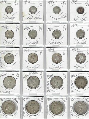 GREAT BRITAIN Lot of 20 Different Silver Coins