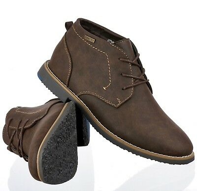 Mens STALLION Brown Lace Up Chukka Chelsea Ankle Desert Casual Shoes Boots Size