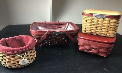Collection Of Christmas Longaberger Baskets Red Green Melody Woven Memories RARE