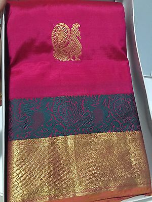 100%  Pure kanchipuram Silk Pattu Saree New In Box Tags Pink Gold With Blouse