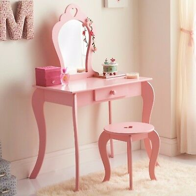 Amelia 1 Drawer Vanity Set - Pink Dressing Table with Mirror & Stool