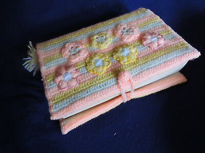 Knitted Book Cover for A5 Book Pink, White, Yellow With a Bookmark