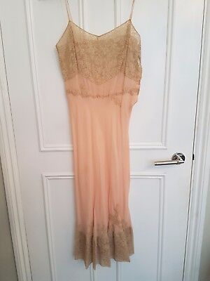 Vintage silk lace pink French chemise night dress, size 8-10