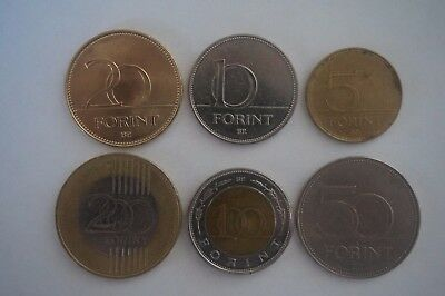 Hungarian coins money 6 different types forint  5 10 20 50 100 200 world europe