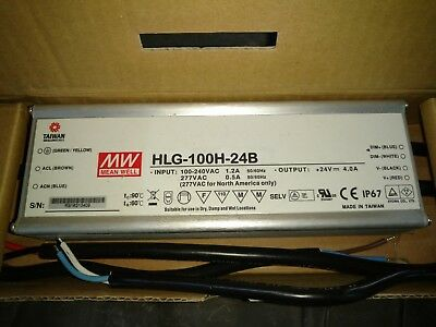 Mean Well IP67 Dimmable LED driver Supply HLG-100H-24B