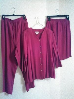 3 pc Maternity Set by Dividends, top, pants, skirt, magenta, size 8, rayon blend