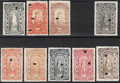 British Columbia Law Stamps, BCL 5-7 9-14, VF unused, catalogue - $93 (for used)