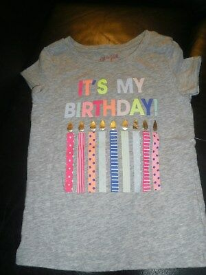 Cat & Jack Toddler 4T Birthday T-shirt BirthdayGirl Great Used Condition