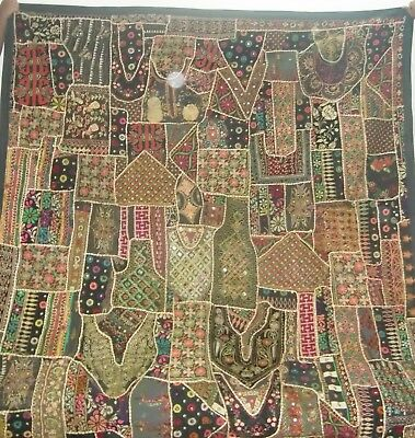Old Very Colorful Hand Made Patch Work Embroidered Wall Hanging Tapestry Runner