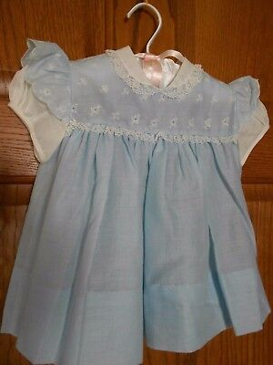 Vintage Baby Dress NOS very fine cotton, lace trim, embroidery for baby or doll