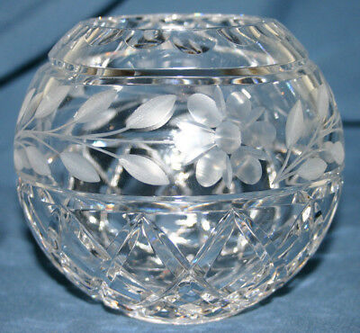 Vintage Cut Crystal & Etched Glass Round Squat Vase Excellent Condition 790g