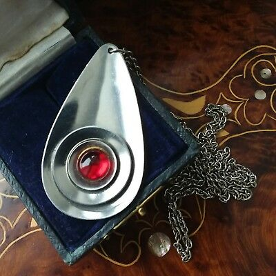 VINTAGE JEWELLERY Retro Modernist 60's stainless steel necklace, red stone