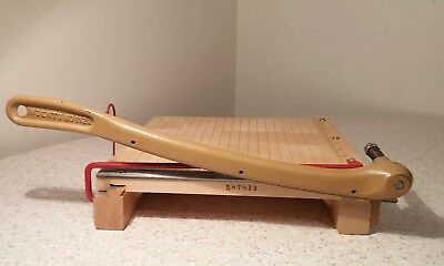 "Vintage Wooden Ingento # 1122 PAPER CUTTER 10"" trimmer Cast Iron Guillotine"