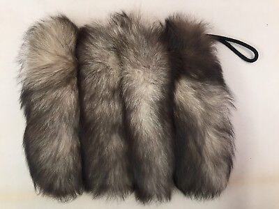 Vintage Genuine Fox Tail Fur Muff Hand Warmer Purse With Lucite Zipper Pull