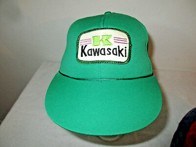 Vintage 80's 90's Youth Kids KAWASAKI Green Snapback Truckers Hat w/ Tags