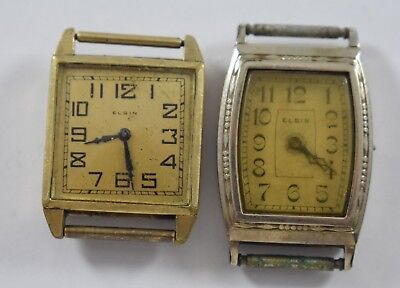 Pair of 2 Vintage Elgin Hand Wind Mechanic Mens Watches w/Hinged Cases lot.b4