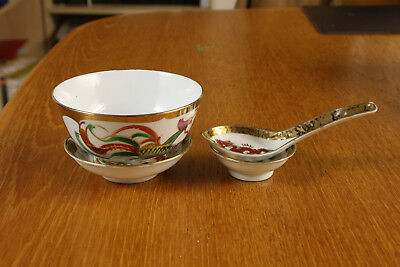 Chinese Soup Rice Bowls Spoons Vintage - Set of 6