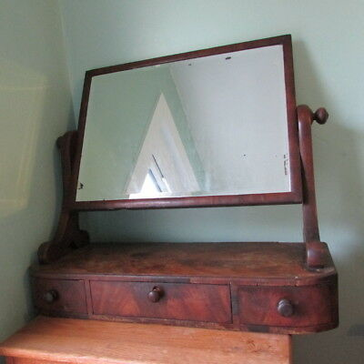 large antique Victorian dressing table swing mirror with three drawers, walnut