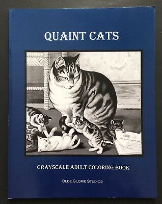 QUAINT CATS Victorian Images Adult Coloring Book Brand New Grayscale