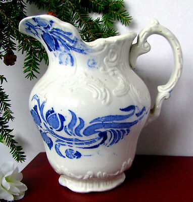 Antique Flow Blue Embossed Ironstone Water Pitcher Circa 1800s, Blue Transfer