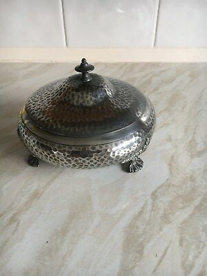 Antique Pewter bowl hammered finishwith lid