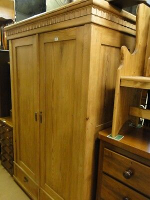 Antique Continental Pine 2-Door Armoire.