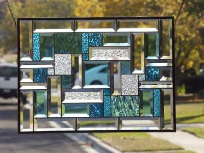"""The Turquoise Collection""22 1/4""x16 1/4-Beveled Stained Glass Window Panel"