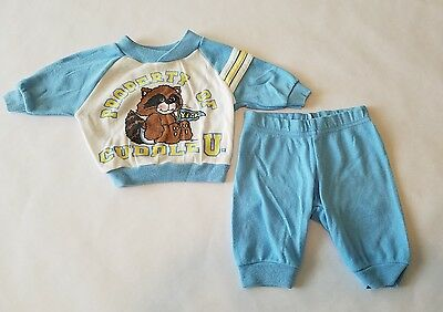 Vintage 80s Property Of Cuddle U Racoon 2 Piece Sleepwear Set Blue Baby Outfit