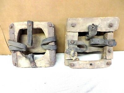 Pair Of Antique Primative Horse Mud/bog/snow Shoes 1800's Wood & Cast Iron