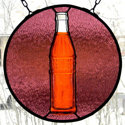 Stained Glass with Vintage Orange Nehi Bottle
