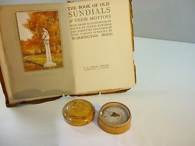 Antique 18th Century Cased Floating Pocket Sundial/Compass + Sundial Book