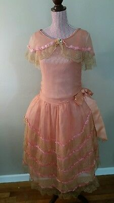 Vintage 1920s Exquisite Pannier Lace Dress