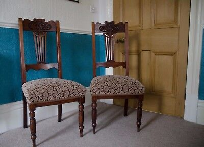 Pair Of Elegant Edwardian Carved Back, Pierced Splats Mahogany Dining Chairs