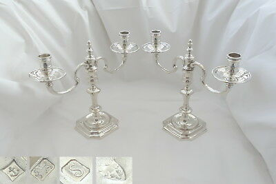 RARE PAIR of QE II HM STERLING SILVER CAST CANDELABRA 47.4 oz