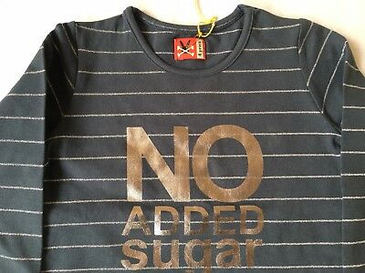 BNWOT Blue Striped No Added Sugar Top Age 4- small fitting